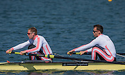 Caversham. Reading,  Men's Pair,  Time Trial, Bow, Andrew JOEL and Harry LEASK, competing at the  GBRowing Team Trials, 18.04.2015. [Mandatory Credit: Peter Spurrier/Intersport-images.com .   Empacher.