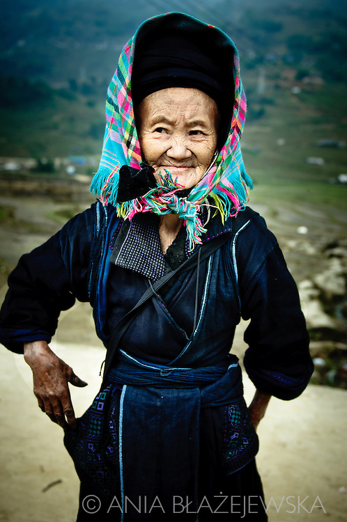 Vietnam, Sapa. Elderly Black Hmong woman from a village near Sapa.