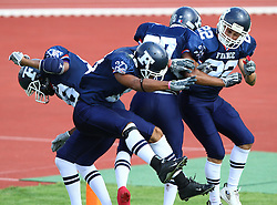 27.07.2010, Wetzlar Stadion, Wetzlar, GER, Football EM 2010, Team France vs Team Great Britain, im Bild Jubel nach dem Touchdown von Marc-Angelo Soumah, (Team France, WR, #88), Artchill Monney, (Team France, WR, #87), Adrien Ortu, (Team France, WR, #22) und Jeremy Rabot, (Team France, WR, #18) ,  EXPA Pictures © 2010, PhotoCredit: EXPA/ T. Haumer