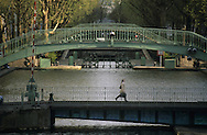 France. Paris,  11th district. Canal Saint martin and bridge  / Paris canal saint Martin