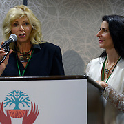 Sally Ranney and Osprey Orielle Lake speak during the opening ceremony of the  International Women's Earth and Climate Summit Friday, Sept. 20, 2013. Leaders from 35+ countries gathered for the drafting of a Women's Climate Action Agenda in Suffern, New York September 20-23rd, 2013 as part of the International Women's Earth and Climate Summit.  For a full list of Summit delegates and an agenda visit www.iweci.org. Photo by Lori Waselchuk/Magazines OUT