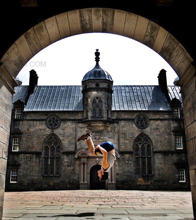 ".John Hall leaps in an Edinburgh court yard to launch the new ""Urbathon"" event to be held in Scotlands capital...HUNDREDS of runners will have the chance to jump, climb and crawl their way through the capital in the first  10 kilometre race of its kind to take place in Scotland which involves obstacle course challenges. ..Picture Michael Hughes/Maverick"