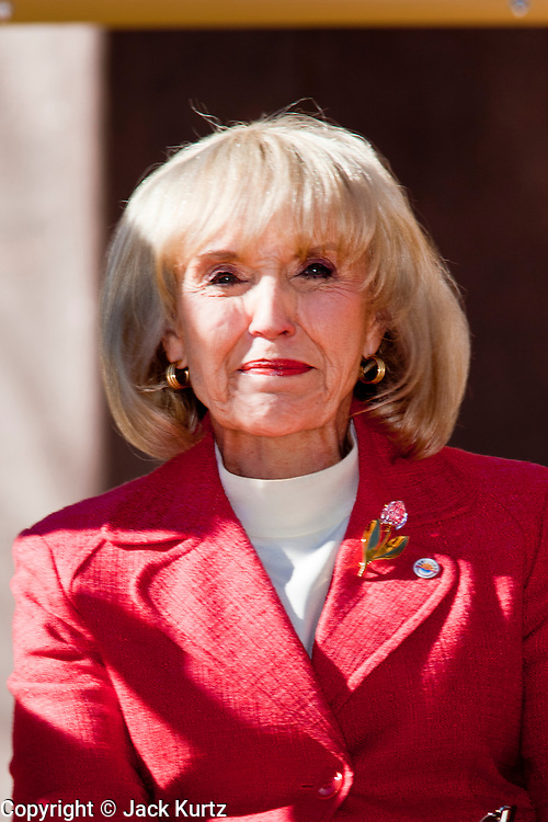 14 FEBRUARY 2011 - PHOENIX, AZ:  Arizona Governor JAN BREWER speaks during Statehood Day observances at the State Capitol in Phoenix Monday. Arizona became the 48th state in the United States on Feb. 14, 1912. Gov. Brewer announced that the state is planning a series of centennial events leading up to Feb 14, 2012 for the coming year during her speech at the state capitol Monday morning.    Photo by Jack Kurtz