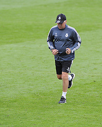 Real Madrid Manager, Carlo Ancelotti - Photo mandatory by-line: Joe Meredith/JMP - Mobile: 07966 386802 11/08/2014 - SPORT - FOOTBALL - Cardiff - Cardiff City Stadium - Real Madrid v Sevilla - UEFA Super Cup - Press Conference and Open Training session