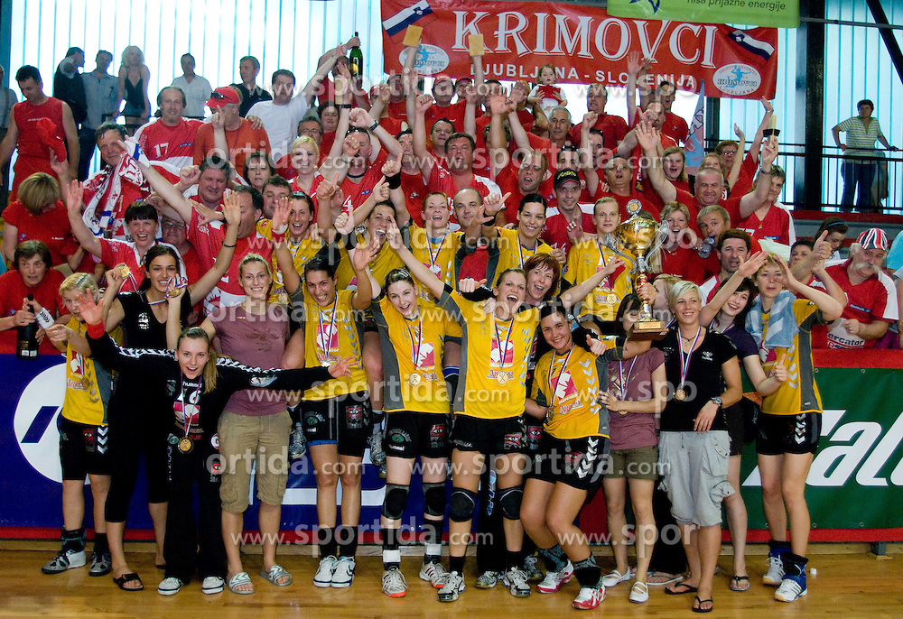 Players of Krim celebrate at the Final handball game of the Slovenian Women handball Championship between RK Krim Mercator and RK Olimpija when Krim Mercator won the Championship and became Slovenian National Champion 15 times every year, on May 23, 2009, Kodeljevo, Ljubljana, Slovenia.  (Photo by Klemen Kek / Sportida)