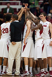 November 6, 2009; Stanford, CA, USA;  The Stanford Cardinal huddle before the start of an exhibition game against the Sonoma State Seawolves at Maples Pavilion.