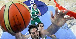 Pau Gasol of Spain vs Erazem Lorbek of Slovenia during basketball game between National basketball teams of Spain and Slovenia at Quarterfinals of FIBA Europe Eurobasket Lithuania 2011, on September 14, 2011, in Arena Zalgirio, Kaunas, Lithuania. Spain defeated Slovenia 86-64. (Photo by Vid Ponikvar / Sportida)