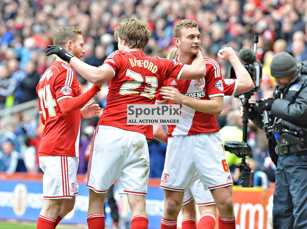 Patrick Bamford of Boro is joined in the top of the league celebrations with some team mates after scoring his team's fourth against Ipswich.....(c) BILLY WHITE | SportPix.org.uk