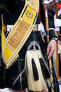 Sporran on Drum Major of band of Scottish pipers at the Braemar Games Highland Gathering