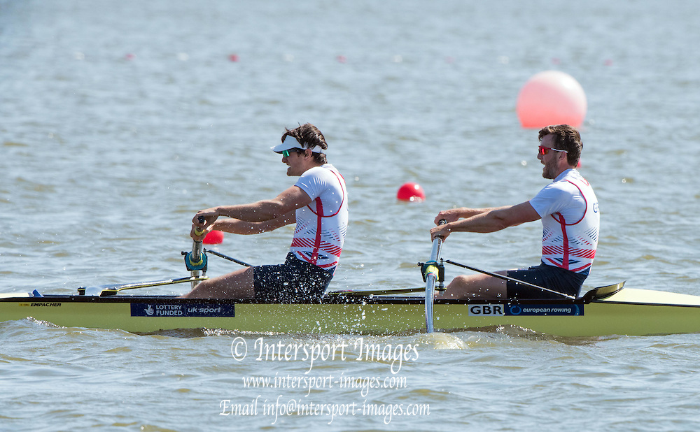 Brandenburg. GERMANY. GR M2-. Bow Alan SINCLAIR and Stewart INNES.<br /> 2016 European Rowing Championships at the Regattastrecke Beetzsee<br /> <br /> Saturday  07/05/2016<br /> <br /> [Mandatory Credit; Peter SPURRIER/Intersport-images]