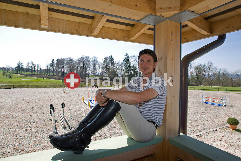 Show jumper Steve GUERDAT of Switzerland is posing during a portrait photo session at his home base in Ruetihof (Herrliberg), Switzerland, Friday, April 10, 2009. (Photo by Patrick B. Kraemer / MAGICPBK)