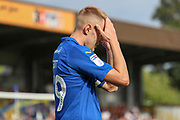 AFC Wimbledon striker Joe Pigott (39) with head in hands during the EFL Sky Bet League 1 match between AFC Wimbledon and Accrington Stanley at the Cherry Red Records Stadium, Kingston, England on 17 August 2019.