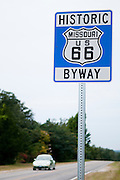 A sign designating the Historic Route 66 in Missouri. Missoula Photographer