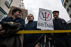 © Licensed to London News Pictures . 24/03/2018. Birmingham, UK. Supporters of the For Britain party march to Birmingham City Centre at a Football Lads Alliance demonstration against Islam and extremism . Offshoot group, The True Democratic Football Lads Alliance, also hold a separate demonstration . Photo credit: Joel Goodman/LNP