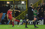 Steven Gerrard of Liverpool scores his second goal of the game against AFC Wimbledon to make it 0-2 during the FA Cup match at the Cherry Red Records Stadium, Kingston<br /> Picture by David Horn/Focus Images Ltd +44 7545 970036<br /> 05/01/2015