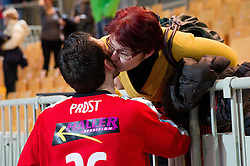 Primoz Prost of Goeppingen with his mother after the handball match between RK Cimos Koper and Frisch Auf Goeppingen (GER) in 3rd Round of EHF Cup 2012/2013, on February 23, 2013 in Arena Bonifika, Koper, Slovenia. Goeppingen defeated Cimos Koper 39-36. (Photo By Vid Ponikvar / Sportida)