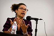"Annette Miller makes a point on the panel ""Moving past the fear — How to talk about race in all of your spaces"" at the Cap Times 2017 Idea Fest, Saturday, September 16, 2017"