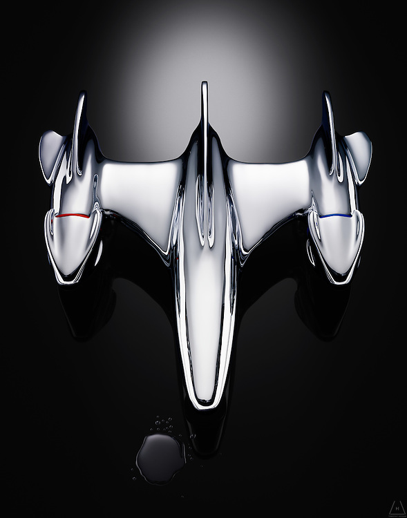An image of a silver art airplane depicting a fluid metallic form