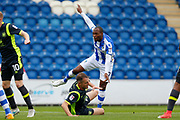 Colchester United's Kyel Reid(17) shoots at goal during the EFL Sky Bet League 2 match between Colchester United and Carlisle United at the Weston Homes Community Stadium, Colchester, England on 14 October 2017. Photo by Phil Chaplin