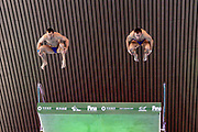 Alekandr Bondar of Russia (left) and Viktor Minibaev of Russia in the Men's Syncronised 10m dive during the FINA/CNSG Diving World Series 2019 at London Aquatics Centre, London, United Kingdom on 17 May 2019.