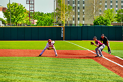 20 May 2019:  Gunner Peterson takes a lead from 1st base and J.T. Weber and umpire Tim Catton. Missouri Valley Conference Baseball Tournament - Southern Illinois Salukis v Illinois State Redbirds at Duffy Bass Field in Normal IL<br /> <br /> #MVCSPORTS