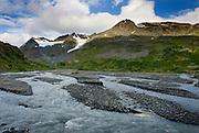 Glacial stream at Thompson Pass Chugach Mountains Alaska