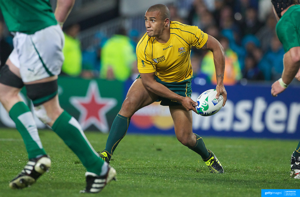 Will Genia, Australia, in action during the Australia V Ireland Pool C match during the IRB Rugby World Cup tournament. Eden Park, Auckland, New Zealand, 17th September 2011. Photo Tim Clayton...