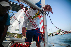 World Sailing Emerging Nations Program - Boca Chica Sailing Club, Santo Domingo 08/19/2017 - DAY 1- Coach and sailor packing and cleaning the boat after practice