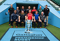 Football - 2019 / 2020 Gallagher Premiership Rugby - New Season Launch Media Photocall<br /> <br /> Premiership Rugby coaches (back row from left to right), Paul Gustard, Harlequins' Head of Rugby, Alan Solomons Worcester Warriors' Director of Rugby, Steve Diamond Sale Sharks' Director of Rugby, Chris Boyd Northampton Saints Director of Rugby, Mark McCall Saracens' Director of Rugby, Geordan Murphy Leicester Tigers' Head Coach, and Rob Baxter Exeter Chiefs' Director of Rugby, (front row) Bristol Bears' Director of Rugby Pat Lam, Wasps' Director of Rugby Dai Young, Gloucester Rugby's Head Coach Johann Ackermann, Bath Rugby's Director of Rugby Stuart Hooper, and Declan Kidney Director of Rugby at London Irish, at Twickenham.<br /> <br /> COLORSPORT/ASHLEY WESTERN