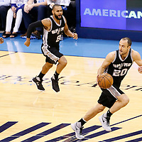 08 May 2016: San Antonio Spurs guard Manu Ginobili (20) is seen on a fast break during the Oklahoma City Thunder 111-97 victory over the San Antonio Spurs, during Game Four of the Western Conference Semifinals of the NBA Playoffs at the Chesapeake Energy Arena, Oklahoma City, Oklahoma, USA.