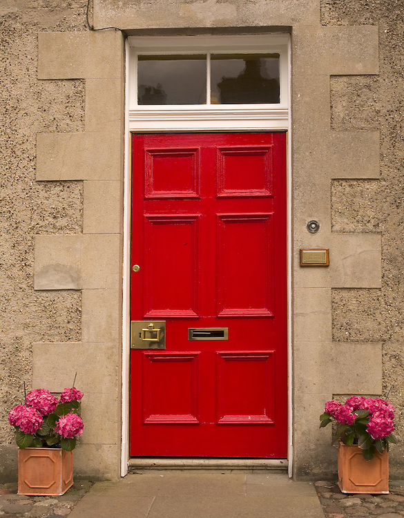Red Door in the historical village of Culross, West Fife, Scotland<br />