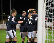 Dundee&rsquo;s Kane Hemmings hugs Paul McGinn who set up his second goal   - Dundee v Falkirk, William Hill Scottish Cup Fourth Round at Dens Park <br /> <br />  - &copy; David Young - www.davidyoungphoto.co.uk - email: davidyoungphoto@gmail.com