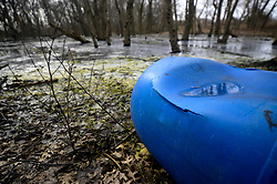 Waste is found dumped at a marsh near the mouth of Neshaminy Creek to the Delaware river in Bucks County, Pennsylvania, on February 6, 2019. The United States Environmental Protection Agency (EPA) is expected to release updates on tests of per- and polyfuoroalkyl substances or PFAs pollution in public water supplies for 16 million Americans in 33 states, including Pennsylvania. The federal report is delayed due to January 2019 shutdown. Reps. Brian Fitzpatrick, Republican of Bucks County in Eastern Pennsylvania and Democrat Dan Kildee, of Michigan cochair a bipartisan task force in the House of Representatives, formed to take on the growing PFAS Contamination Crisis. The usage of foam at nearby former military bases is linked to tainted drinking water, affecting tens of thousands of residents in Bucks and Montgomery Counties in Eastern Pennsylvania.