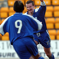 St Johnstone v Inverness Caley Thistle..  04.02.03<br />Chris Hay celebrates goal two<br /><br />Pic by Graeme Hart<br />Copyright Perthshire Picture Agency<br />Tel: 01738 623350 / 07990 594431