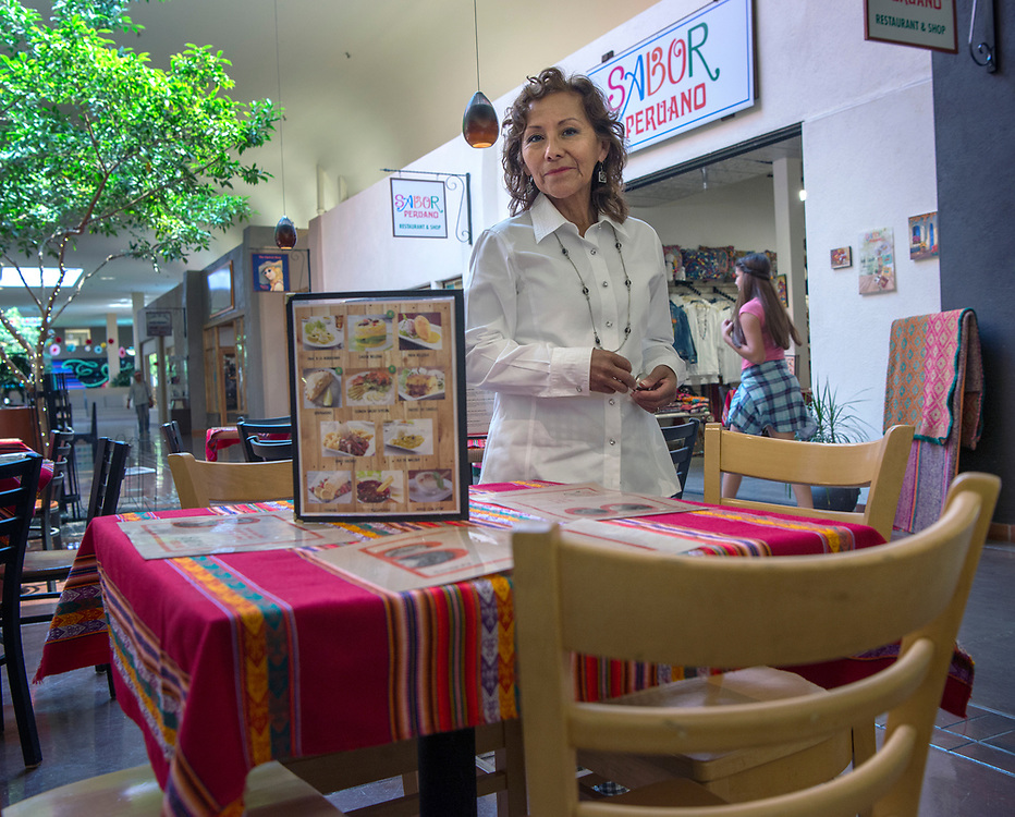 em073117a/jnorth/Susana Hamilton is co-owner of Sabor Peruano restaurant and shop at the De Vargas Center in Santa Fe, Monday, July 31, 2017.  (Eddie Moore/Albuquerque Journal)