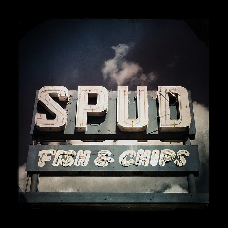 """Charles Blackburn image of the Spud Fish & Chips sign in Seattle, WA. 5x5"""" print."""