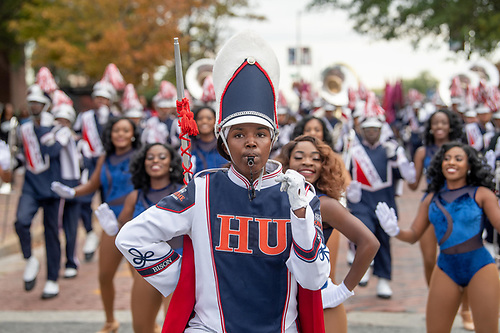 The Howard University Showtime Marching band performing at the Homecoming Parade.