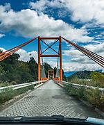 Single-lane bridge over Lago Bertrand on Carretera Austral (CH-7), Chile, Patagonia, South America.
