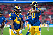 LA Rams Running Back Todd Gurley (30) and LA Rams Running Back John Kelly (42) during the International Series match between Los Angeles Rams and Cincinnati Bengals at Wembley Stadium, London, England on 27 October 2019.