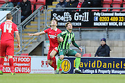 Dannie Bulman of AFC Wimbledon and John Marquis of Leyton Orient during Sky Bet League 2 match between Leyton Orient and AFC Wimbledon at the Matchroom Stadium, London, England on 28 November 2015. Photo by Stuart Butcher.