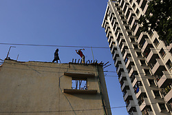 October 1, 2018 - Dhaka, Bangladesh - Workers demolish an old building at one of the oldest Azim Pur Colony. (Credit Image: © MD Mehedi Hasan/ZUMA Wire)
