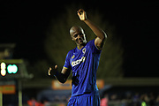 AFC Wimbledon striker Tom Elliott (9) celebrates at the final whistle of the EFL Sky Bet League 1 match between AFC Wimbledon and Milton Keynes Dons at the Cherry Red Records Stadium, Kingston, England on 14 March 2017.