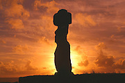 Sunset, Tahai Archeological site, Easter Island (Rapa Nui), Chile<br />