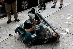 September 18, 2016 - New York, New York, U.S - A view of a mangled construction toolbox, Sunday, Sept. 18, 2016, at the site of an explosion that occurred on Saturday night in the Chelsea neighborhood of New York. Numerous people were injured in the blast, and the motive, while reportedly not international terrorism, is still being investigated. (Credit Image: © Prensa Internacional via ZUMA Wire)