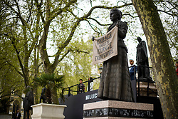 © Licensed to London News Pictures. 24/04/2018. London, UK. The unveiling of a statue of Millicent Fawcett in Parliament Square, London. Dame Millicent, a leading Suffragist and campaigner for equal rights for women, is the first woman to be commemorated with a statue in Parliament Square. Photo credit: Ben Cawthra/LNP