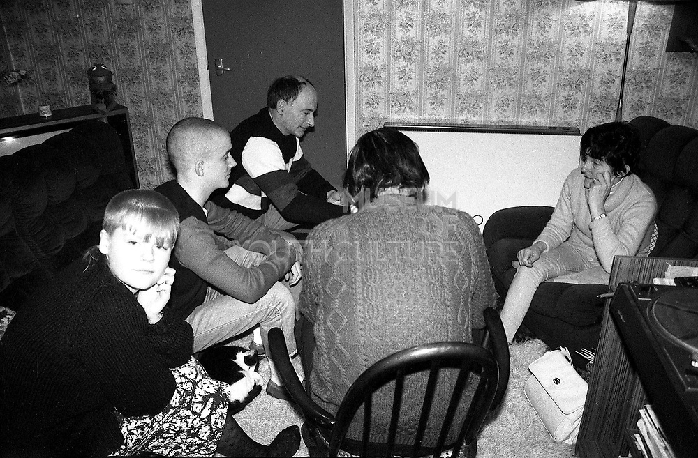 Tiny, Billy, Neville, Jo, Richard and Smudge the cat, Hawthorne Road, High Wycombe, UK. 1980s.