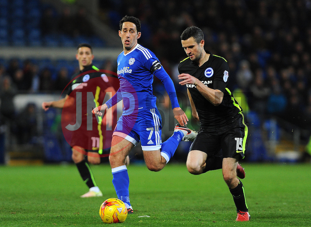 Peter Whittingham of Cardiff City applies pressure on Jamie Murphy of Brighton & Hove Albion - Mandatory by-line: Nizaam Jones/JMP - 03/12/2016 -  FOOTBALL - Cardiff City Stadium - Cardiff, Wales -  Cardiff City v Brighton and Hove Albion - Sky Bet Championship