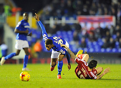 Birmingham City's Demarai Gray fouls Middlesbrough's Lee Tomlin - Photo mandatory by-line: Dougie Allward/JMP - Mobile: 07966 386802 - 18/02/2015 - SPORT - Football - Birmingham - ST Andrews Stadium - Birmingham City v Middlesbrough - Sky Bet Championship
