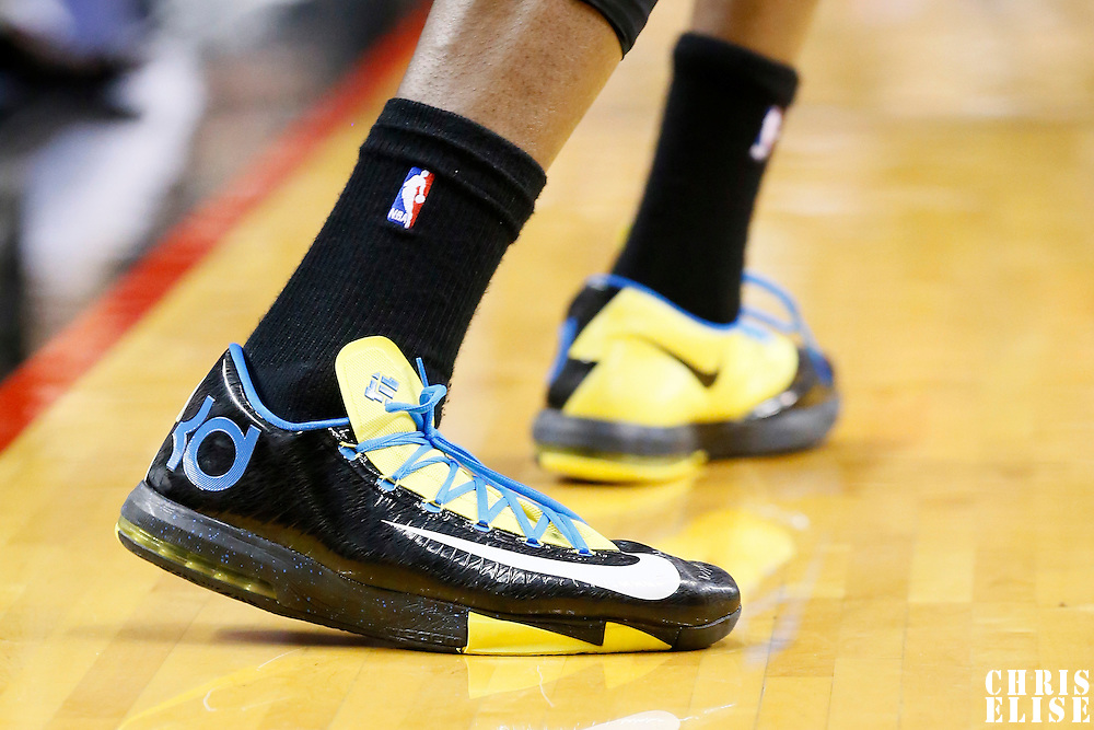 04 December 2013: Close view of Oklahoma City Thunder small forward Kevin Durant (35) sneakers during the Portland Trail Blazers 111-104 victory over the Oklahoma City Thunder at the Moda Center, Portland, Oregon, USA.