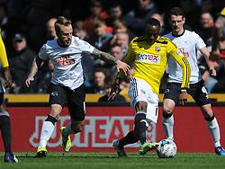 Derby Richard Keogh, holds of Brentfords Moses Odubajo, Derby County v Brentford, Sy Bet Championship, IPro Stadium, Saturday 11th April 2015. Score 1-1,  (Bent 92) (Pritchard 28)<br /> Att 30,050